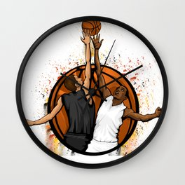 Basketball jump ball featuring two players in a basketball Wall Clock