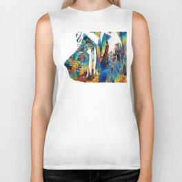 Colorful Bloodhound Dog Art By Sharon Cummings Biker Tank