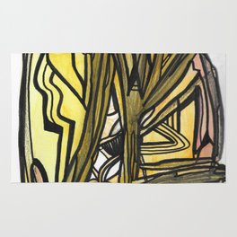 Slingshot Abstract Line Art Painting Rug