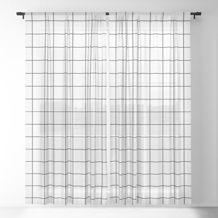 Grid Stripe Lines Black and White Minimalist Geometric Sheer Curtain