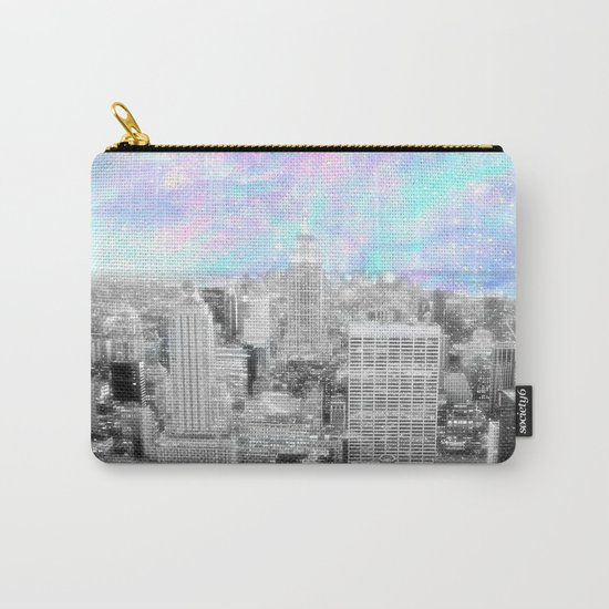 New York City. Pink Lavender Periwinkle Aqua Skies Carry-All Pouch