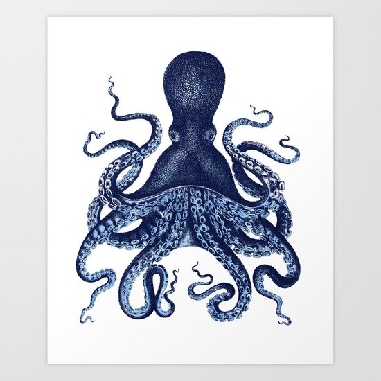 Watercolor blue vintage octopus by southpacificprints