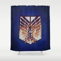 shingeki no kyojin Shower Curtains featuring Eren by TxzDesign