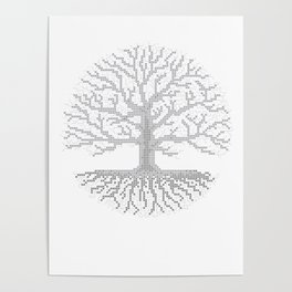 Pixel Art - Cross Stitch Chart - Grey Tree of Life - Poster