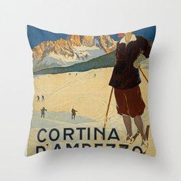 Vintage ski poster Throw Pillow