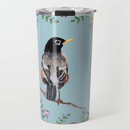 American Robin with Flower Wreath 3 Travel Mug