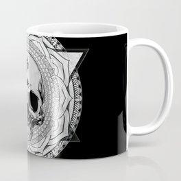 Life Touches The Seeker Ajna Skull Mandala Geometric Triangle Black Coffee Mug