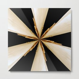Black, White and Gold Star Metal Print