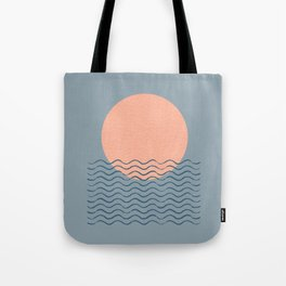 Ocean Wave Sun Blue - Mid Century Modern Tote Bag