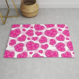 Pink Hearts Pattern. Light Pink Hearts Background. 3 Hearts in 1 Heart. Funky Hearts. Valentine Love Rug