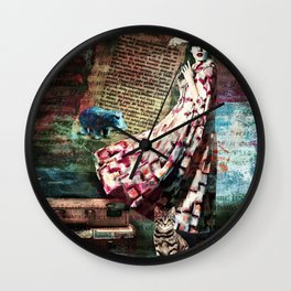 Cat, Woman and Hat Wall Clock