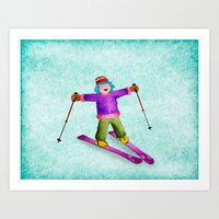 skiing Art Prints featuring Tina Skiing by Tina