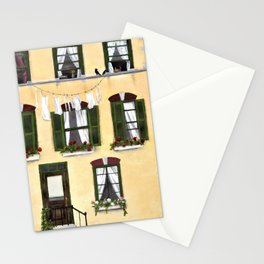 European Apartment, Clothes line, Green Shutter, Birds and Berry Studio Stationery Cards