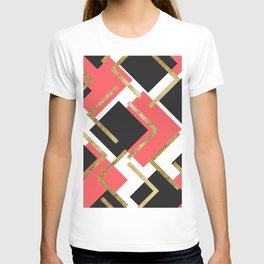 Chic Coral Pink Black and Gold Square Geometric T-shirt