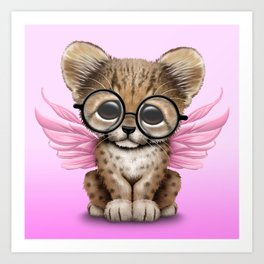 Cheetah Cub with Fairy Wings Wearing Glasses on Pink Art Print