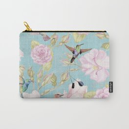 Pastel Teal Vintage Roses and Hummingbird Pattern Carry-All Pouch