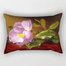 A Lavender Magnolia on Red Velvet by Martin Johnson Head Rectangular Pillow