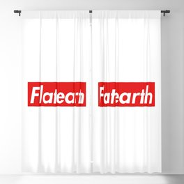 Flat Earth Red Box Logo Blackout Curtain