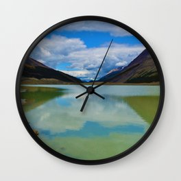 Sunwapta Lake at the Columbia Icefields in Jasper National Park, Canada Wall Clock