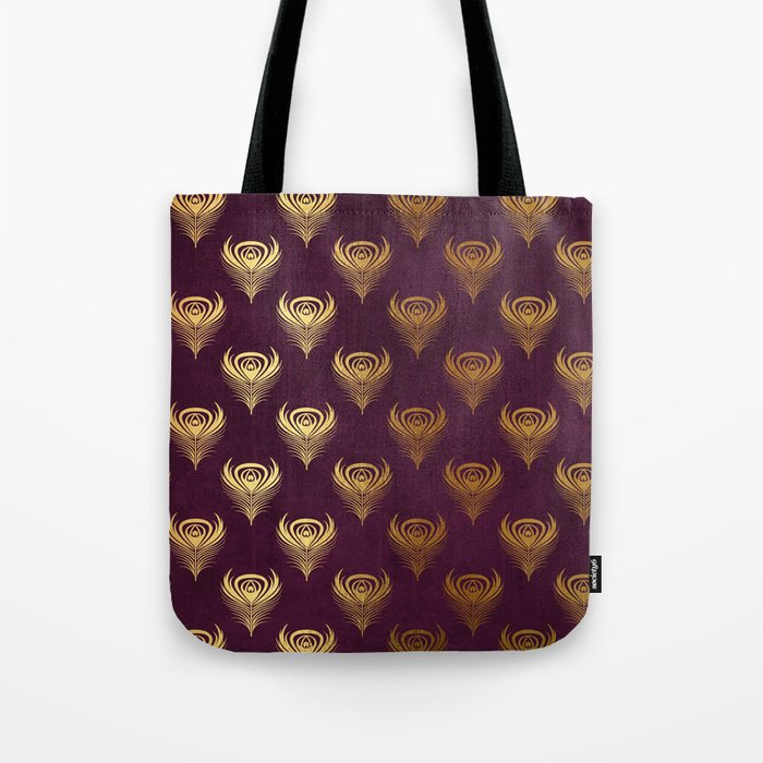 Purple gold peacock feather Tote Bag