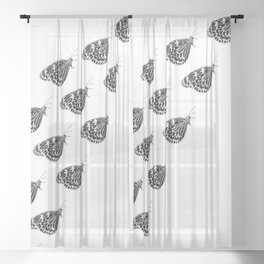 Butterfly swarm Sheer Curtain