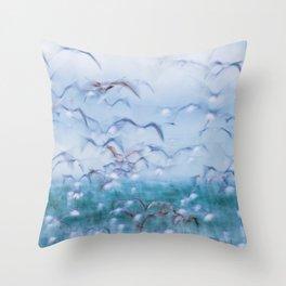 Cape Point Slow Shutter Seagulls Throw Pillow
