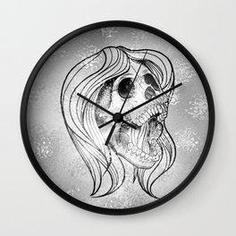 Singing Lady SKULL,silver Wall Clock