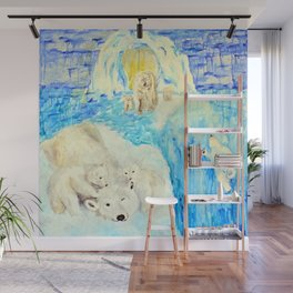 Polar Bears Trying to Survive Wall Mural