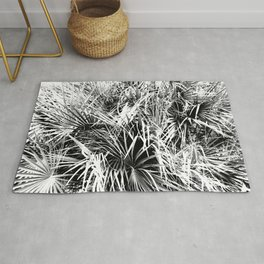 Palm Fronds In Black and White Abstract Photography Rug