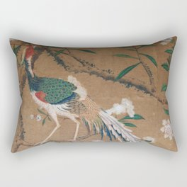 Antique French Chinoiserie in Tan & White Rectangular Pillow