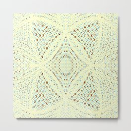 Pale Yellow and Blue Pattern Metal Print