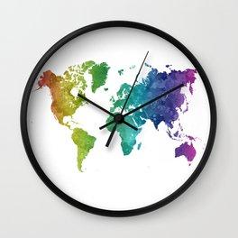 World map in watercolor rainbow Wall Clock