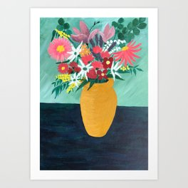 Bouquet in Golden Pot Art Print