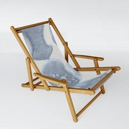 Shibori Wabi Sabi Indigo Blue on Lunar Gray Sling Chair