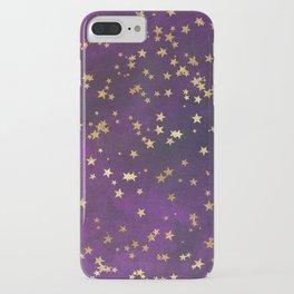Dark Purple Gold Stars iPhone Case