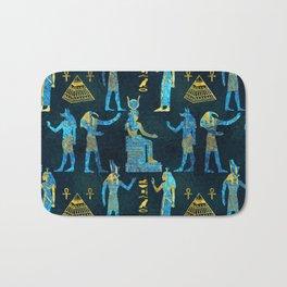 Egyptian  Gold and blue glass pattern Bath Mat