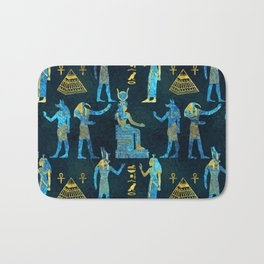 Egyptian  Gold and blue glass pattern Bath Mat