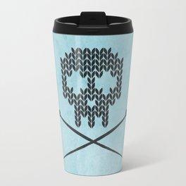 Knitted Skull (Black on Light Blue) Travel Mug