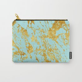 Luxury and glamorous gold glitter on aqua Sea marble Carry-All Pouch