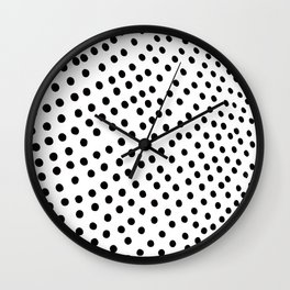 Warped Black Polka Dot Rain Wall Clock
