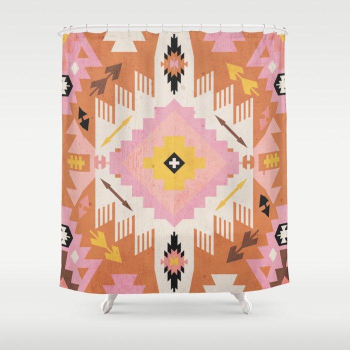 Tribal Kilim Orange Shower Curtain