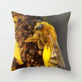Bumblebee on a Sunflower Throw Pillow