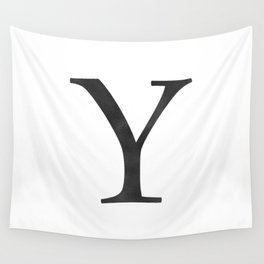Letter Y Initial Monogram Black and White Wall Tapestry