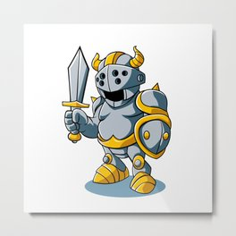 Cartoon knight With Swords Shield Helmet Army Uniform Metal Print