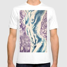 Stretching Nude White MEDIUM Mens Fitted Tee