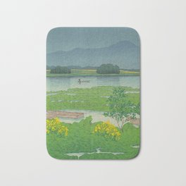 Kawase Hasui Vintage Japanese Woodblock Print Flooded Asian Rice Field Mountain Parallax Landscape Bath Mat