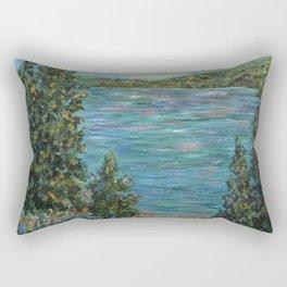 Gone Fishing, Impressionism Landscape Art Rectangular Pillow