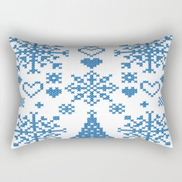 Christmas Cross Stitch Embroidery Sampler Teal And White Rectangular Pillow