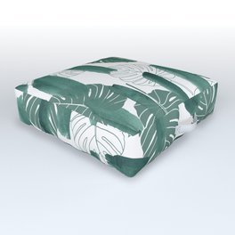 Modern green white watercolor tropical floral brushstrokes Outdoor Floor Cushion