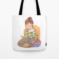 reading Tote Bags featuring Reading by Maria Garcia